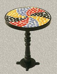 bistro tisch mit mosaik tischplatte echte steine. Black Bedroom Furniture Sets. Home Design Ideas